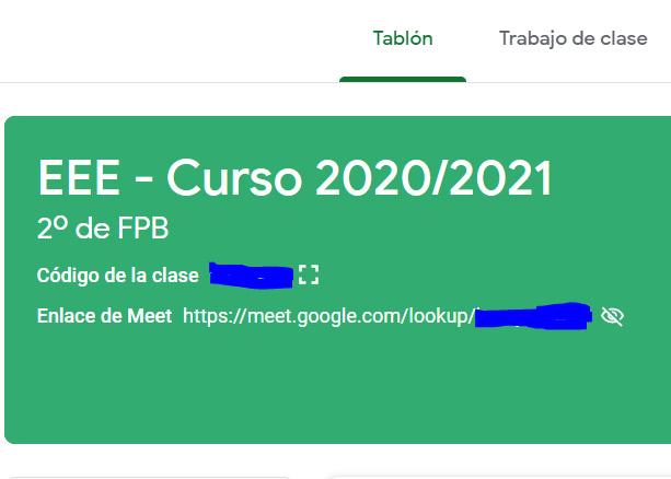 Acceso a Google Meet a través de Google Classroom