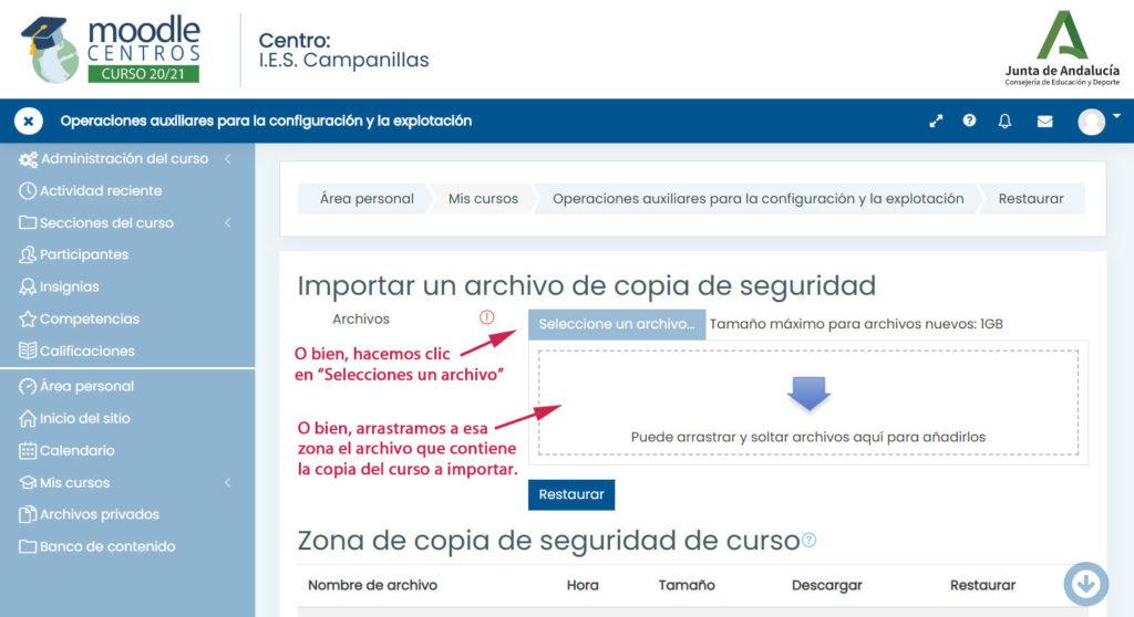 Importación a Moodle Centros - Seleccionar el archivo a importar